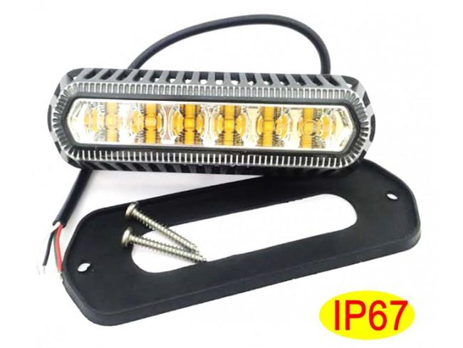 Warning lighthead 6 led amber