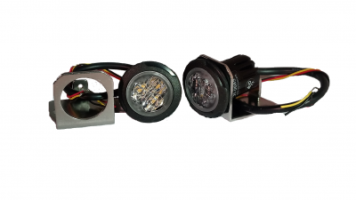 Pack 2X feux de pénétration Led SAE 12&24V Orange + support fixation